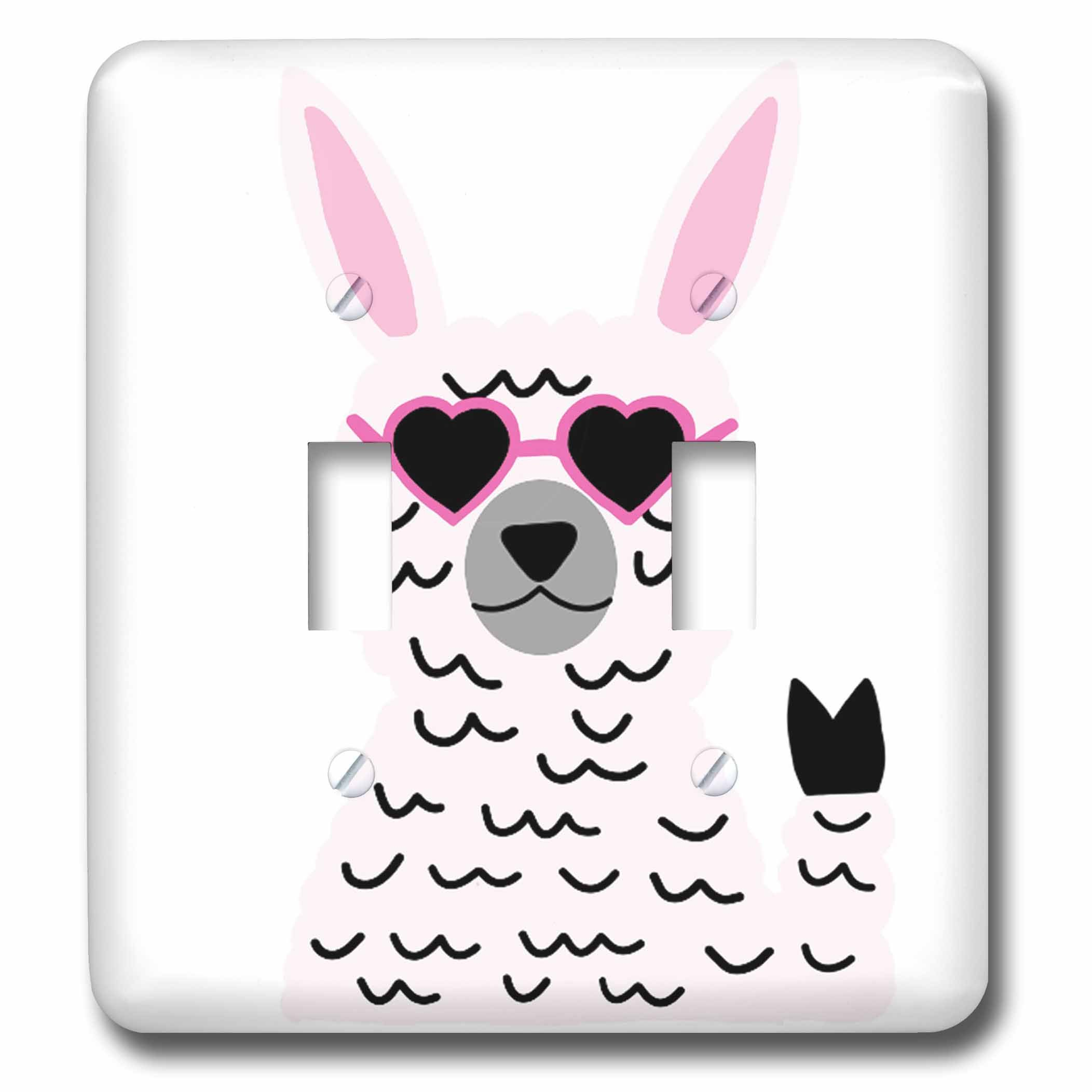 3dRose AllSouthernDesignTees - Zoo Animals - Cool fun hippie llama holding up peace sign and wearing heart glasses - Light Switch Covers - double toggle switch (lsp_280221_2)