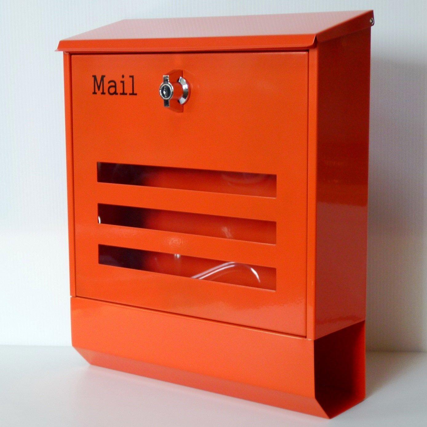 ポスト 郵便ポスト 郵便受け メールボックス壁掛けオレンジ色 ステンレスポストm142 B00FPFMXUU 19800