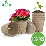 "IGGRO Peat Pots Set 100 pcs Bio-Degradable 3"" Round Shape Peat Pots with Drain Hole 
