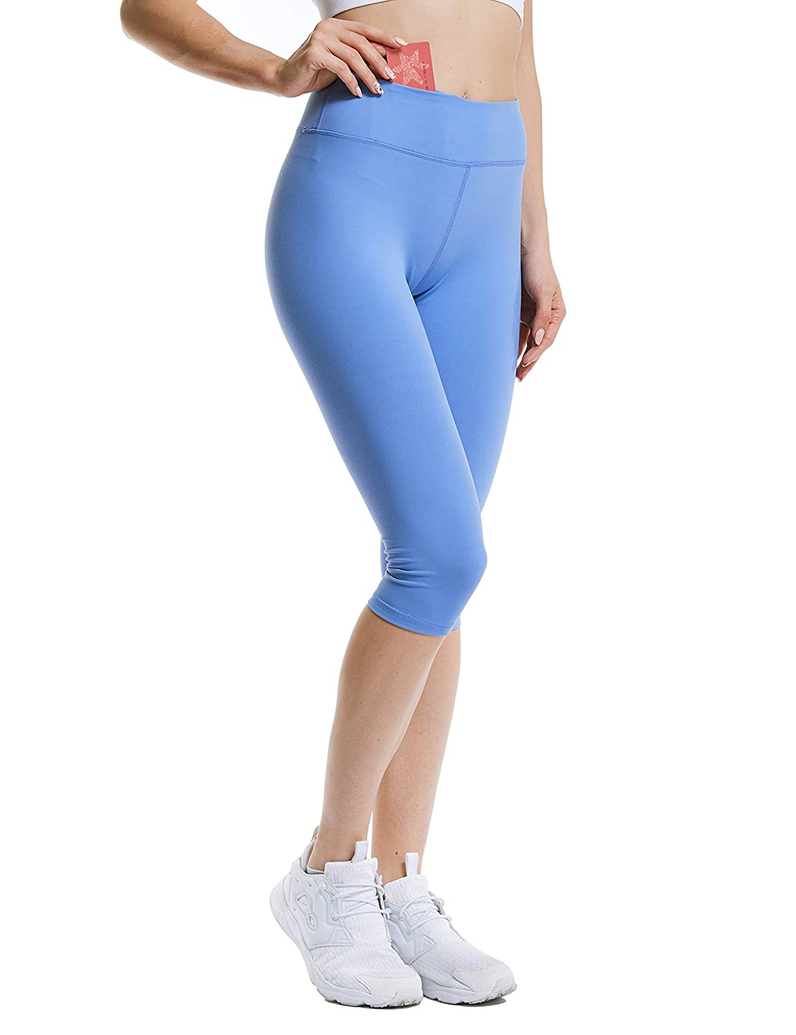 Brilliant bluee ANBENEED Gym Workout Leggings Yoga Pants for Women Non See Through Active Fitness Running Leggings with Pockets