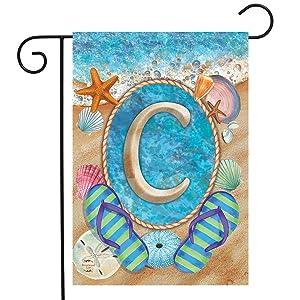 """Briarwood Lane Summer Monogram Letter C Garden Flag Flip Flops Seashells 12.5"""" x 18"""""""