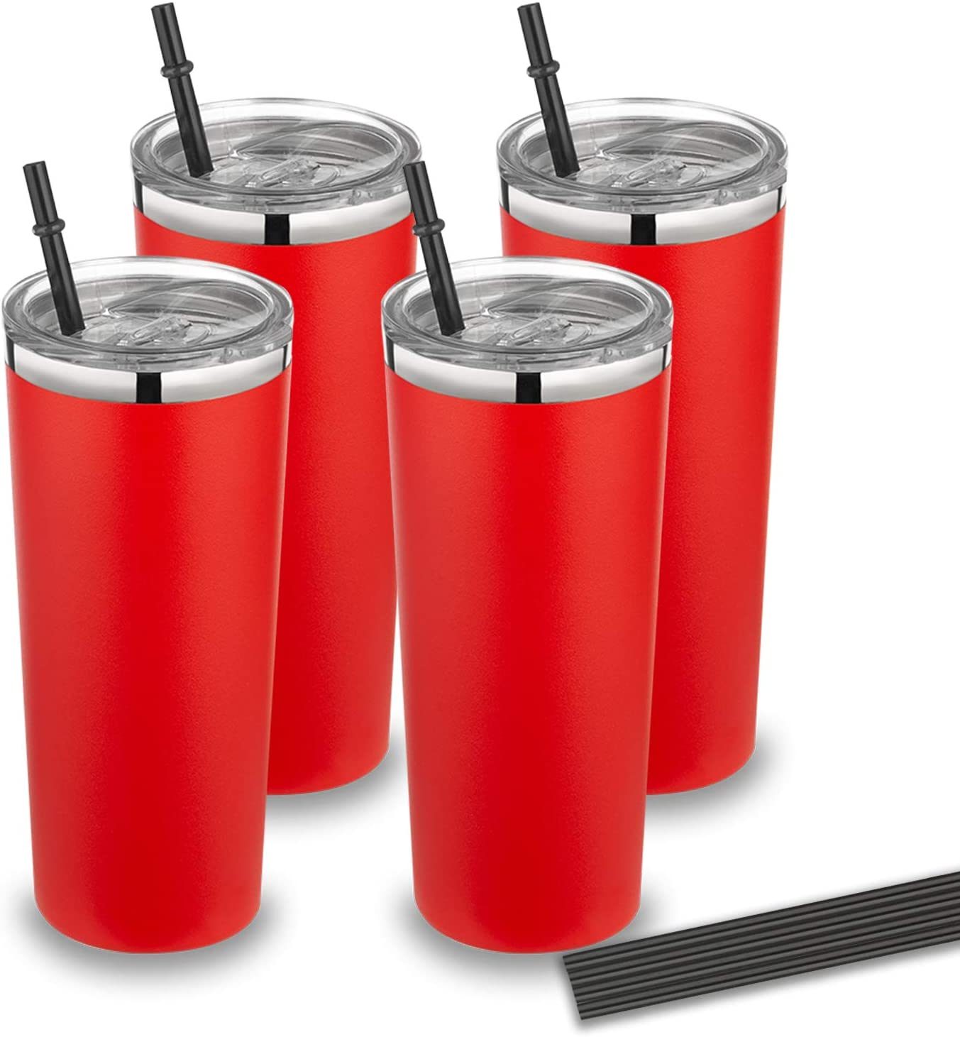 22 oz Trumber Stainless Steel Travel Coffee Mug with lid and straw,Vacuum Insulated Tumbler cup for Home, Office, Outdoor Works Great for Ice Drinks and Hot Beverage (Canyon Red, 4pack)