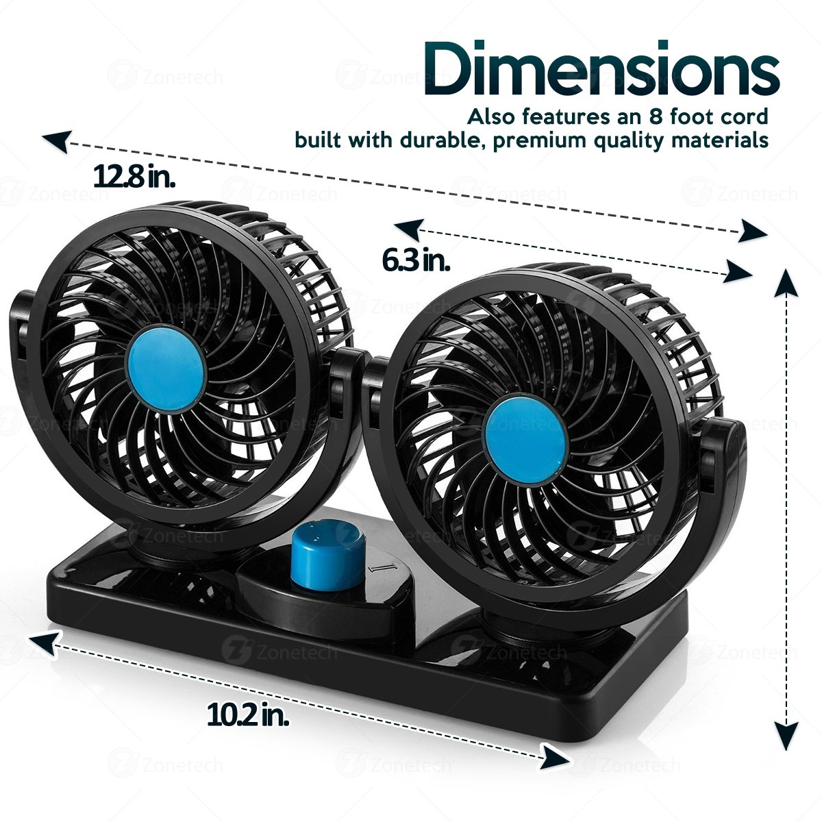 2 Speed Oscillating Summer Fan-Ventilation Adjustable Universal Powerful Fans Comfort Wheels Zonetech 12V Electrical Car Cooling Fan-Zone Tech Rotatable Dual Head