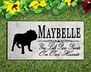 Broad Bay Bulldog Dog Memorial Personalized Stone Marker Gift Custom Garden Marker Memory Sign Outdoor Grave Headstone