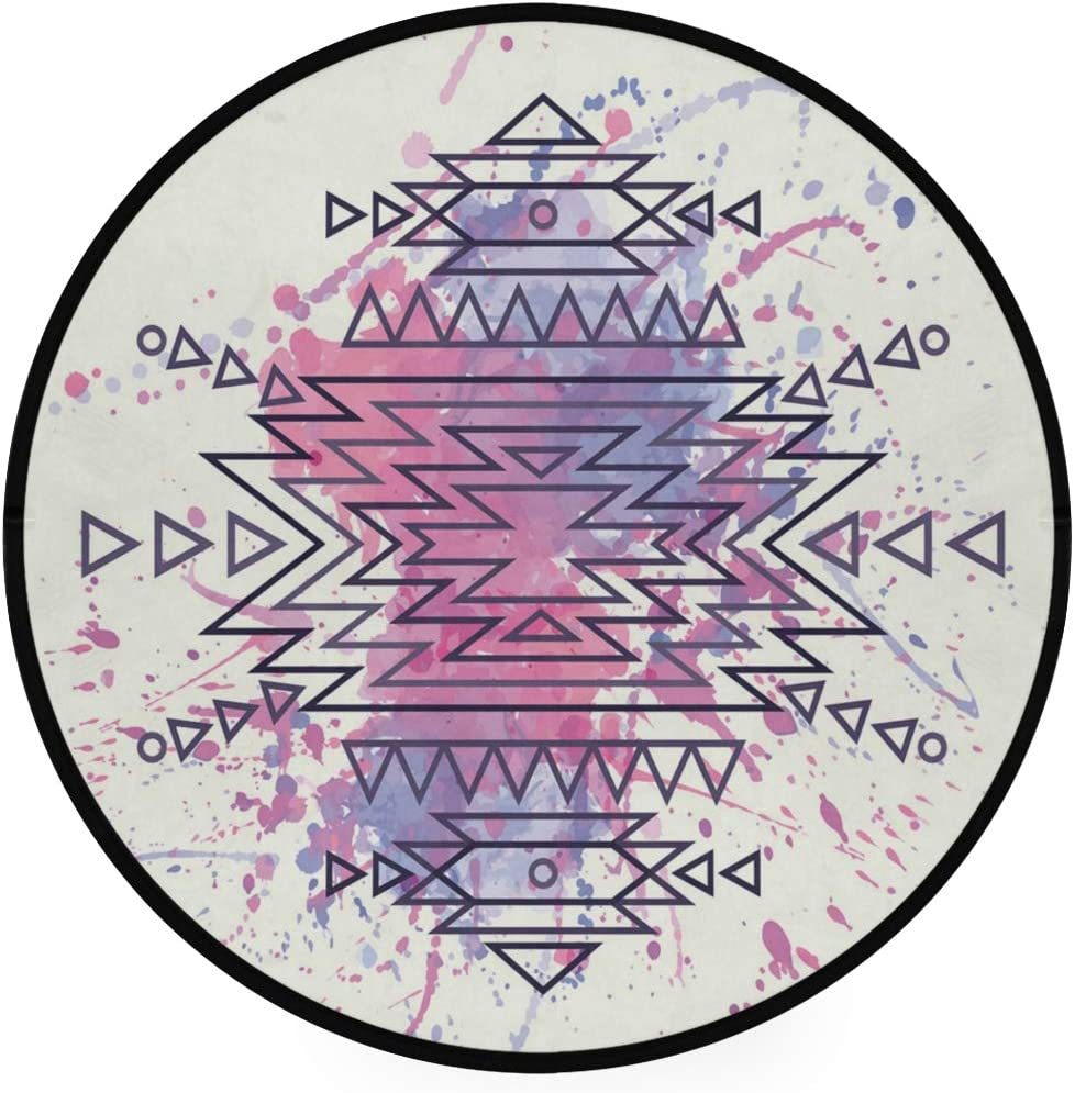 Minalo Super Soft Light Round Area Rug,Tribal Ethnic Motif Brushstroke Print,Circle Carpet 5 Diameter