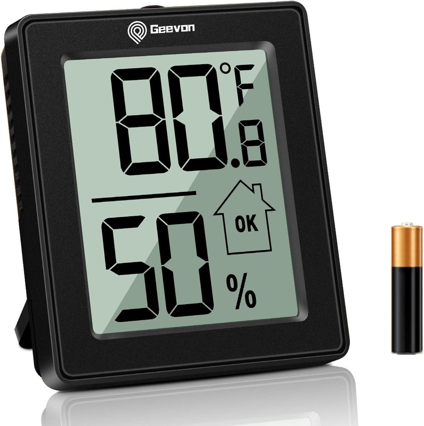 Indoor Room Hygrometer Thermometer LCD Digital Temperature Humidity Meter Clock