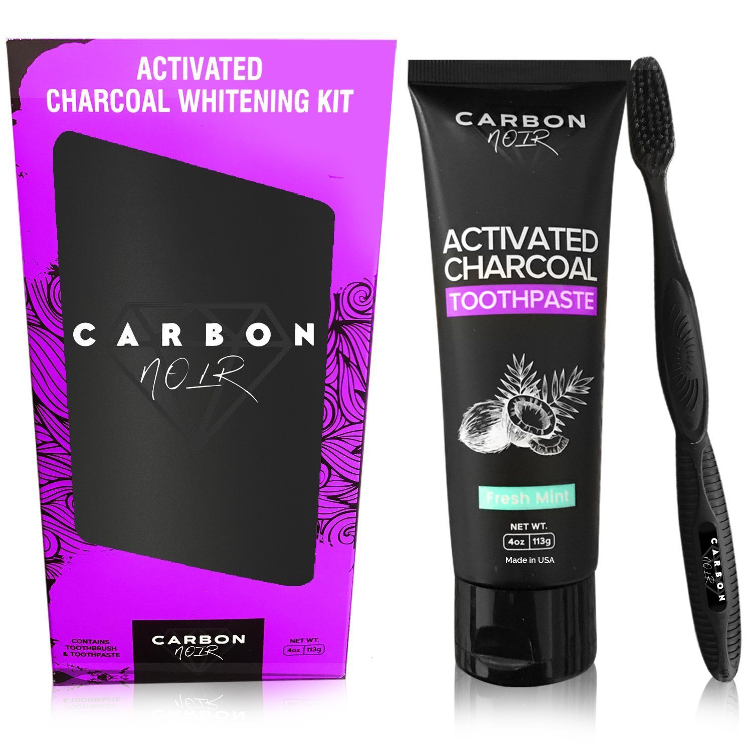 Activated Charcoal Toothpaste Teeth Whitening Kit w/ Coconut Oil, Black Binchotan Toothbrush Included - Made in USA - Natural Whitener, Fluoride Free - No messy powder or strips - Removes Tooth Stains
