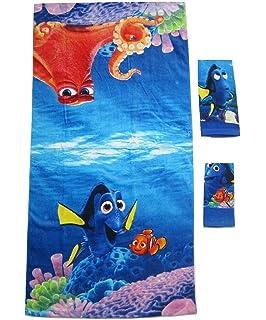 3 Pieces Disney Pixar 100% Cotton Bath, Hand, And Fingertip Towel Sets (