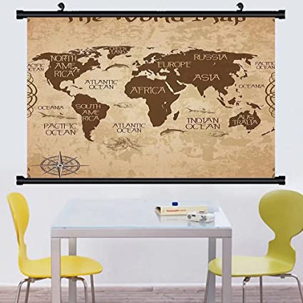 Amazon gzhihine wall scroll map decorative wall world map decor gzhihine wall scroll map decorative wall world map decor deas oceans continents compass old globe antiqued gumiabroncs Images