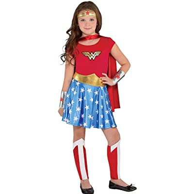 Costumes USA Wonder Woman Costume for Girls, Includes a Dress, a Headband, Leg Warmers, a Cape, and More: Clothing