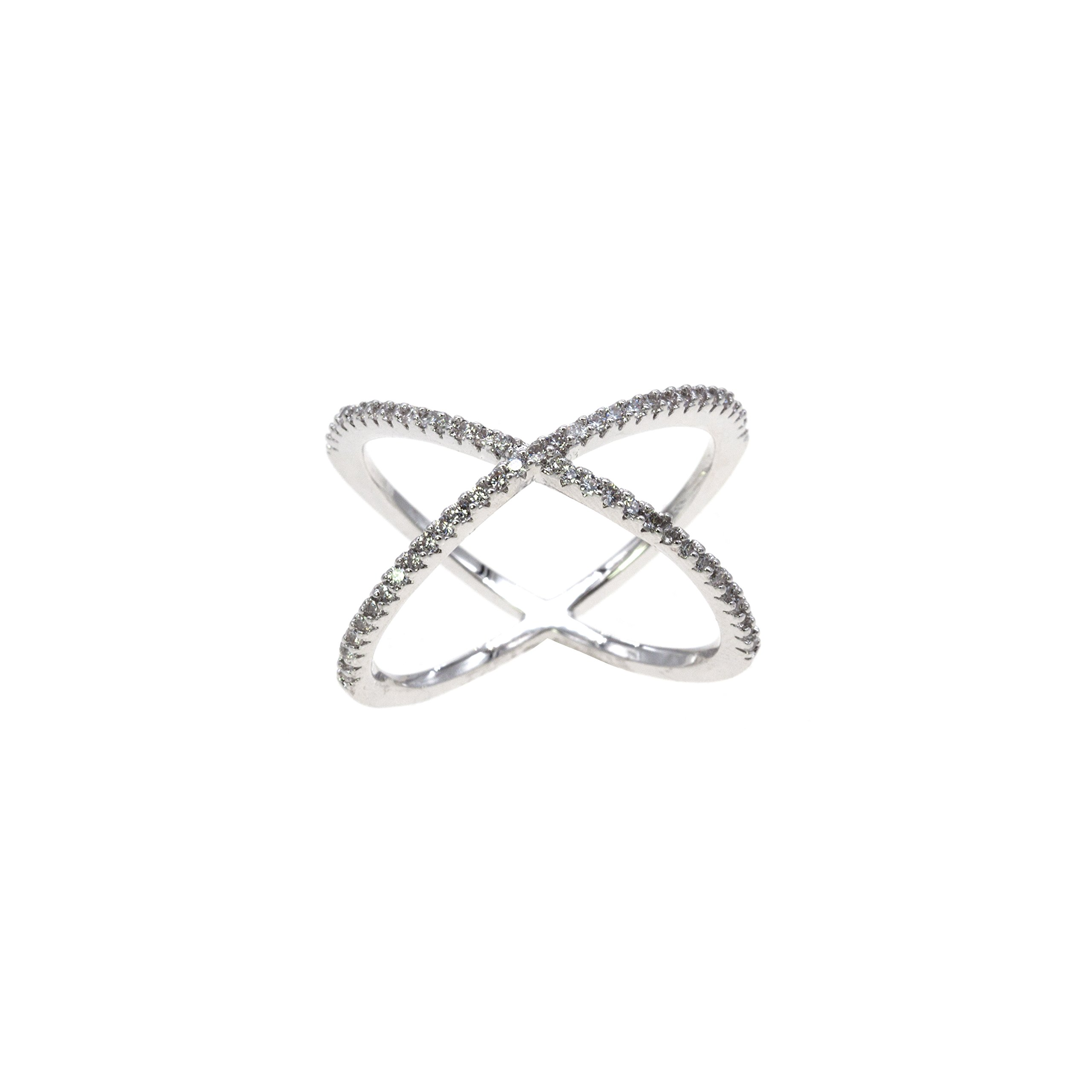 Lavencious Single X Cross Rings Criss Trendy Fashion Statement Clear CZ Cocktails Jewelry for Women (Silver, 11)