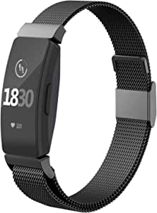 CCnutri Compatible with Fitbit Inspire HR Bands, Stainless Steel Loop Metal Mesh Bracelet for Fitbit Inspire and Ace 2 Replacement Wristbands for Women Men, Black, Small