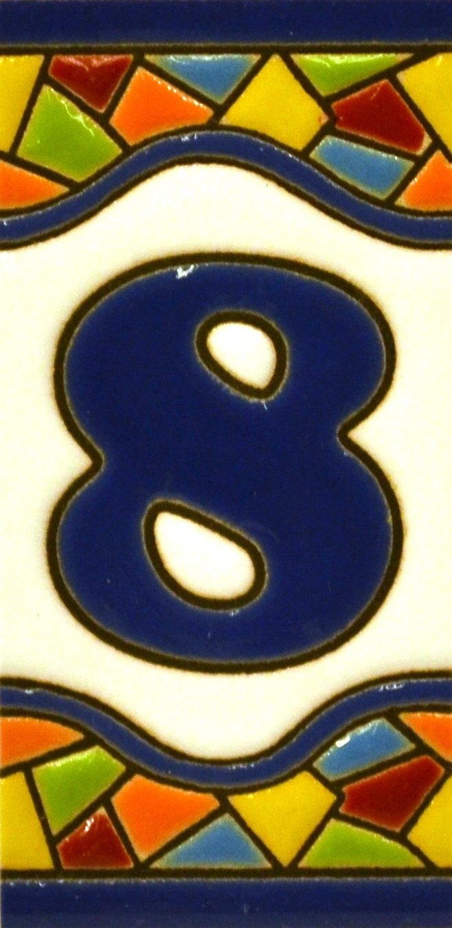 Dise/ño MOSAICO MINI 7,3 cm x Texto personalizable Letreros con numeros y letras en azulejo de ceramica policromada direcciones y se/ñal/éctica pintados a mano en t/écnica cuerda seca para placas con nombres N/úmeros casa