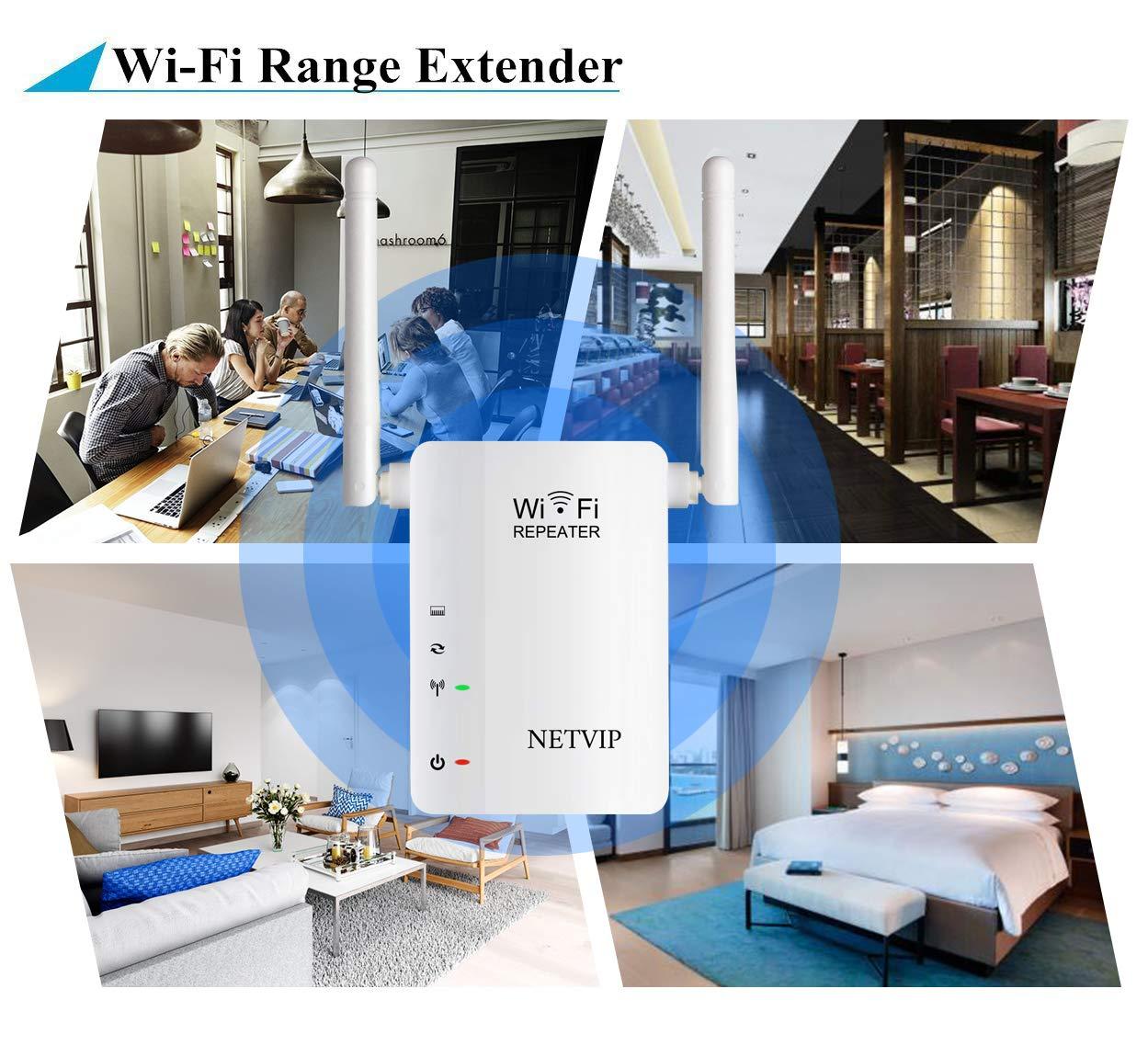1 Port,2 Betriebs Modi,2 Externer Antennen verst/ärker NETVIP WLAN Repeater Verst/ärker Wireless Repeater Signal WLAN Verstaerker Kompatibel Mit Allen WLAN Ger/äten 300Mbit//s, 2.4GHz Schwarz