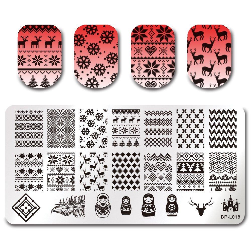 Born Pretty Nail Art Plaque Rectangle de stamping en Motif de Dentelle Fleur L045
