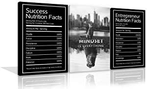 Large Mindset is Everything Quotes Inspirational Wall Art Canvas Prints Motivational Wall Decor Success Nutrition Facts Entrepreneur Quotes Office Posters 3 Panels for Office Home Framed Ready to Hang