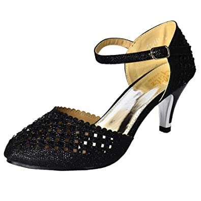 a128ad8811 Womens Embellished Ankle Strap Mid Heel Party Shoes Mary Jane Sparkly Prom  Size[UK 3