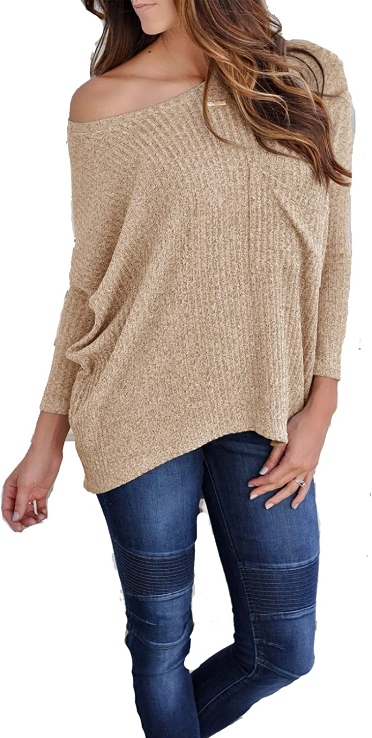 Leezeshaw Womens Scoopneck Long Sleeve Solid Knit-Ribbed Tunic Tops Pullover Sweaters