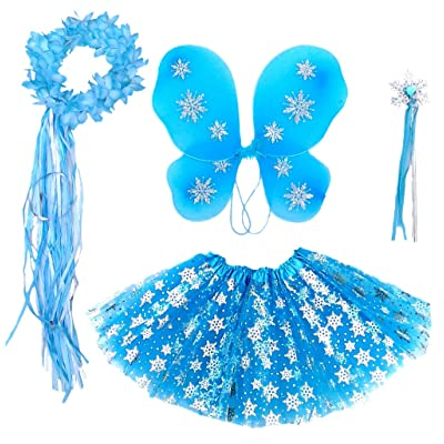Enchantly Fairy Costume - Fairy Wings for Girls - Butterfly Costume for Girls - Frozen Inspired Wings, Tutu, Wand and Halo: Toys & Games