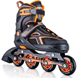 2PM SPORTS Torinx Orange/Red/Green Black Boys Adjustable Inline Skates, Fun Roller Blades for Kids, Beginner Roller…