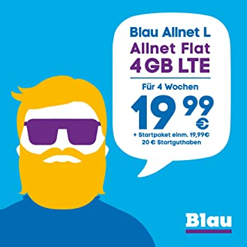 Blau Sim Karte Funktioniert Nicht.Blau Allnet L Sim Micro Sim Und Nano Sim Ohne Vertragslaufzeit 4 Gb Mit Lte Allnet Flat Min Sms In Alle Dt Netze Eu Vorteil 19 99 4 Wochen