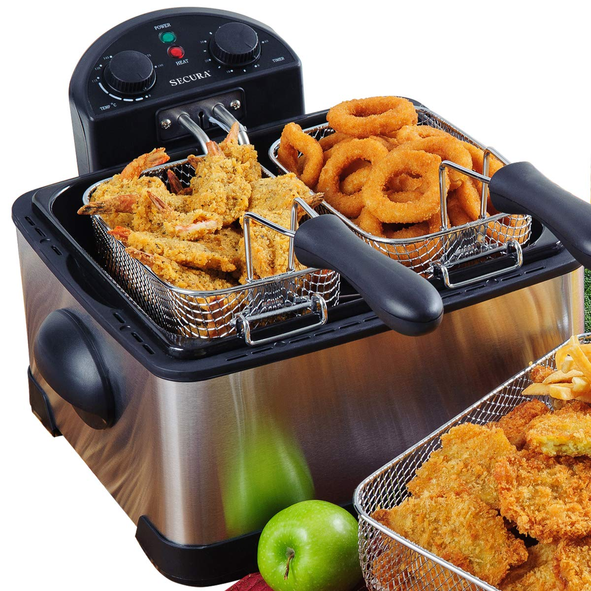 Secura 1700-Watt Stainless-Steel Triple Basket Electric Deep Fryer with Timer Free Extra Odor Filter, 4L/17-Cup by Secura