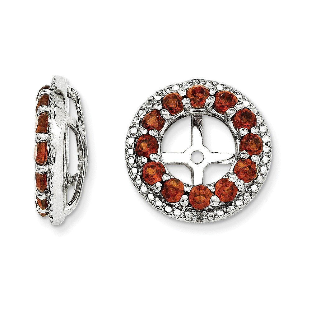 Sterling Silver Rhodium Diamond & Garnet Earring Jacket