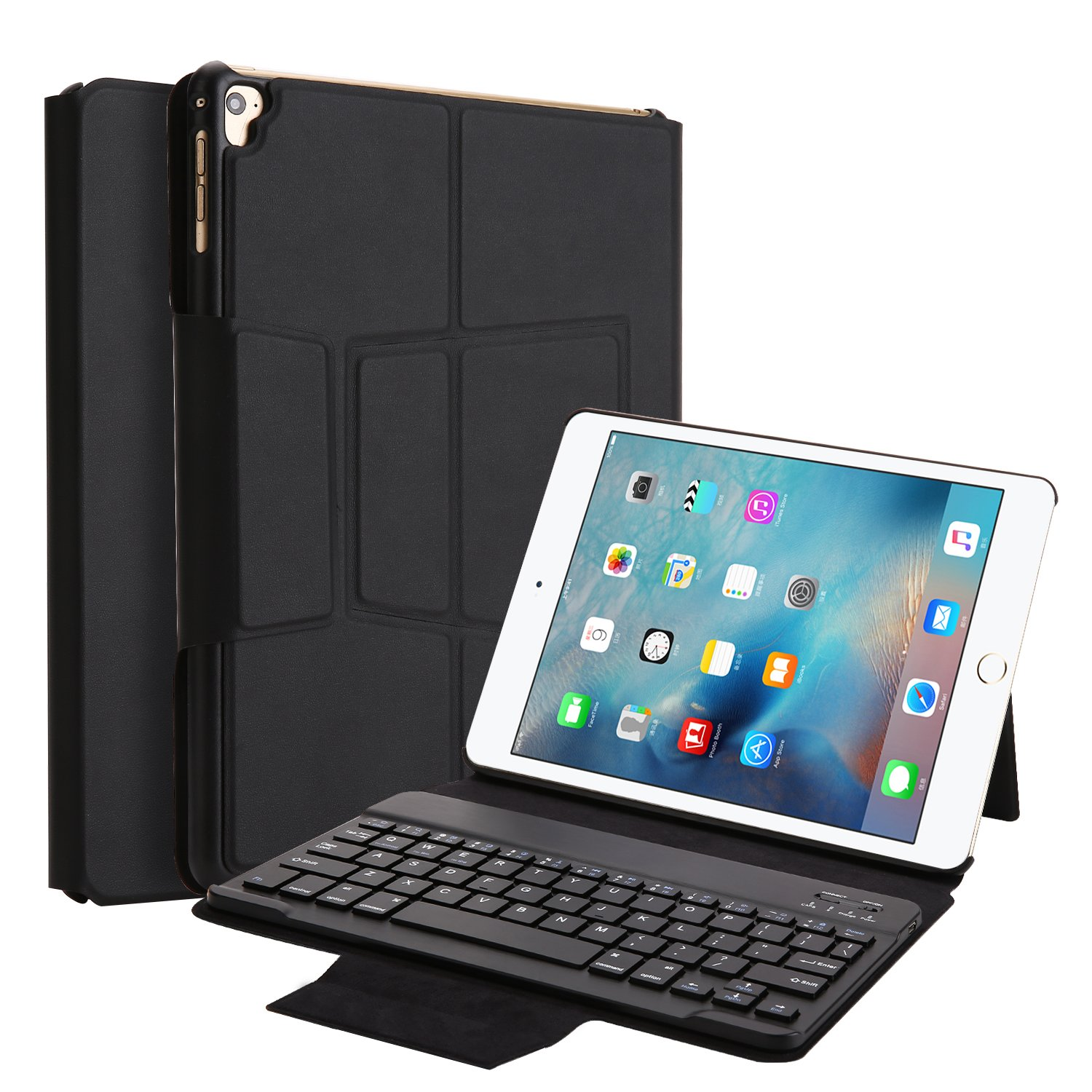New iPad 9.7 2018 Keyboard Case, TechCode PU Leather Smart Case Stand Folio Cover with Detachable Wireless Bluetooth Keyboard for iPad Pro 9.7/2018 New iPad 6/2017 iPad 5/iPad air/air 2 (Black)