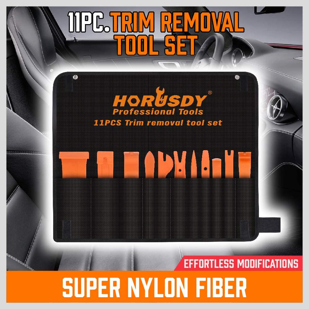 Nylon Fiber,Window//Molding//Door//Panel//Upholstery//Fastener Clip Removal Tool Kit HORUSDY Auto Trim Removal Tool Kit