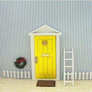 Wooden Yellow Fairy Door - Miniature Elf Door