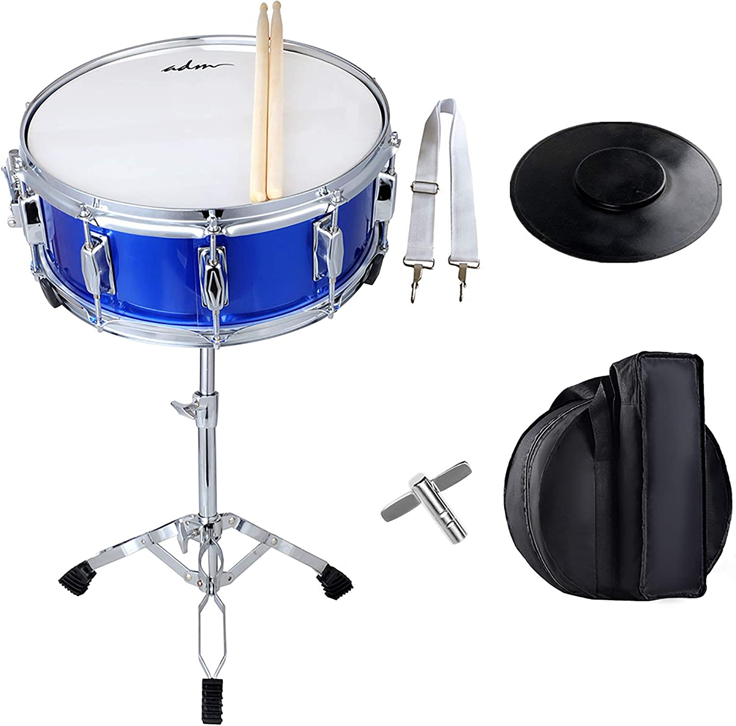 Stand and Practice Pad Kit Blue Renewed MSN-1455P-BL Mendini Student Snare Drum Set with Gig Bag Sticks