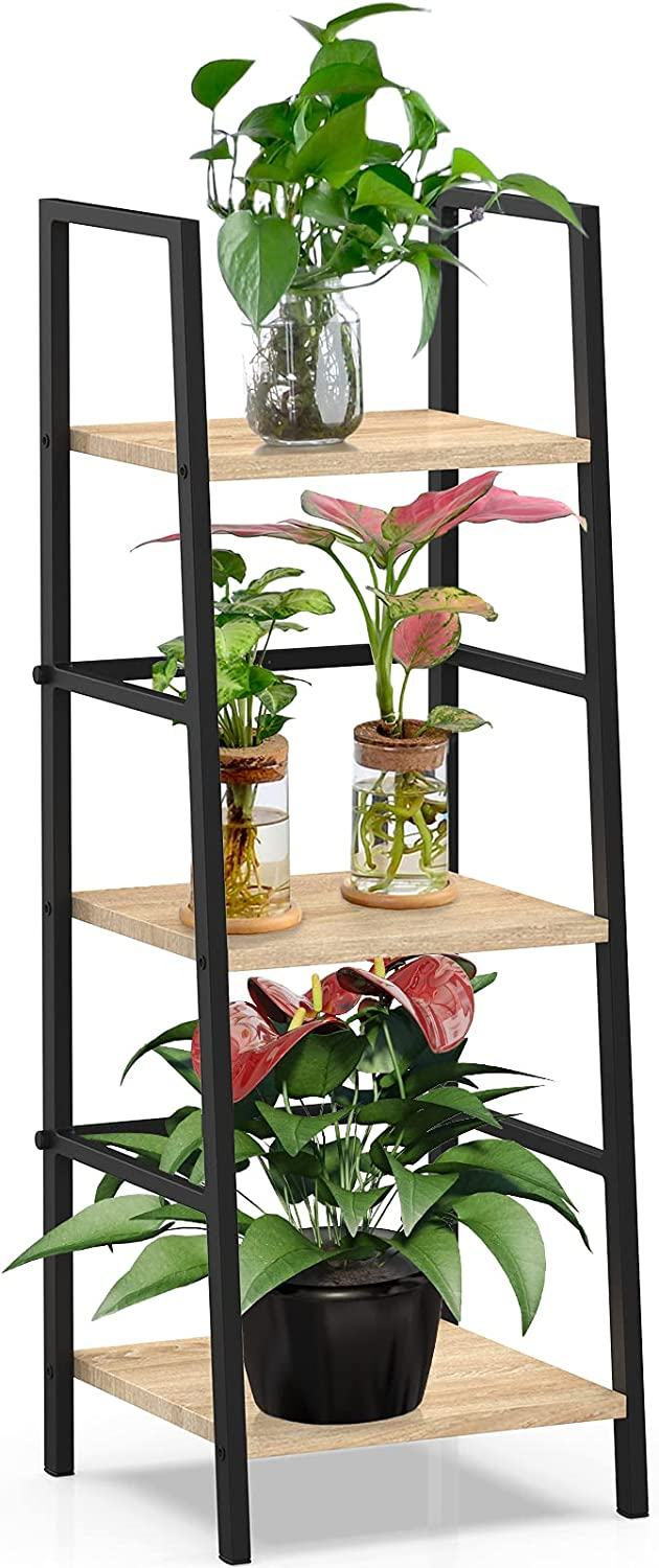 SpringSun 3-Tier Ladder Shelf Bookcase, Living Room Rustic Standing Shelf Storage Organizer, Wood and Metal Shelf for Home and Office