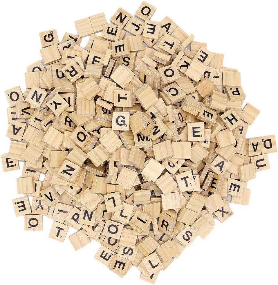 Zcaukya 300 Piezas de Madera Scrabble Azulejos, Letras de Madera, Scrabble Azulejos para Manualidades A-Z mayúsculas Letras para Manualidades, Colgantes, ortografía (300): Amazon.es: Juguetes y juegos
