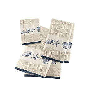 Bayside Cotton Bathroom Towels , Highly Absorbent Bath Towel Set , 6-Piece Include 2 Bath Towels, 2 Hand Towels & 2 Wash Towels , Sea Blue