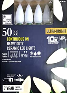 Home Accents Holiday 50 C9 Continuous On Heavy Duty Ceramic LED Lights - Warm White