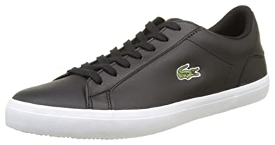 d4aaf02f2fb780 Lacoste Men s Lerond BL 1 Leather Lace Up Trainer Black-Black-7