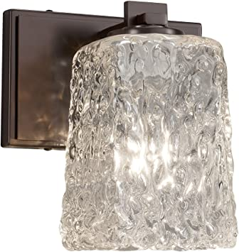 Justice Design Group Lighting GLA-8441-26-WHTW-CROM Veneto Luce Era 1-Light Wall Sconce-Polished Chrome Finish with Venetian Glass Whitewash-Square with Rippled Rim Shade