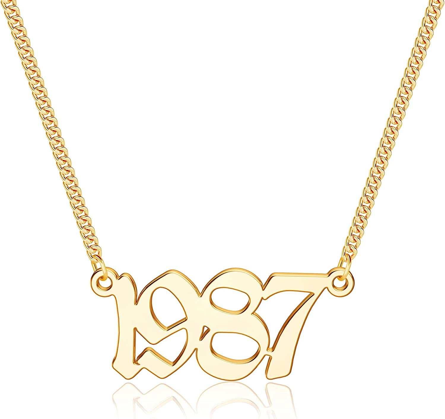 IEFSHINY Birth Year Necklace for Women, 18K Gold Plated Birth Year Number Pendant Necklace Jewelry Gifts for Women Birthday Anniversary, 1970-2021