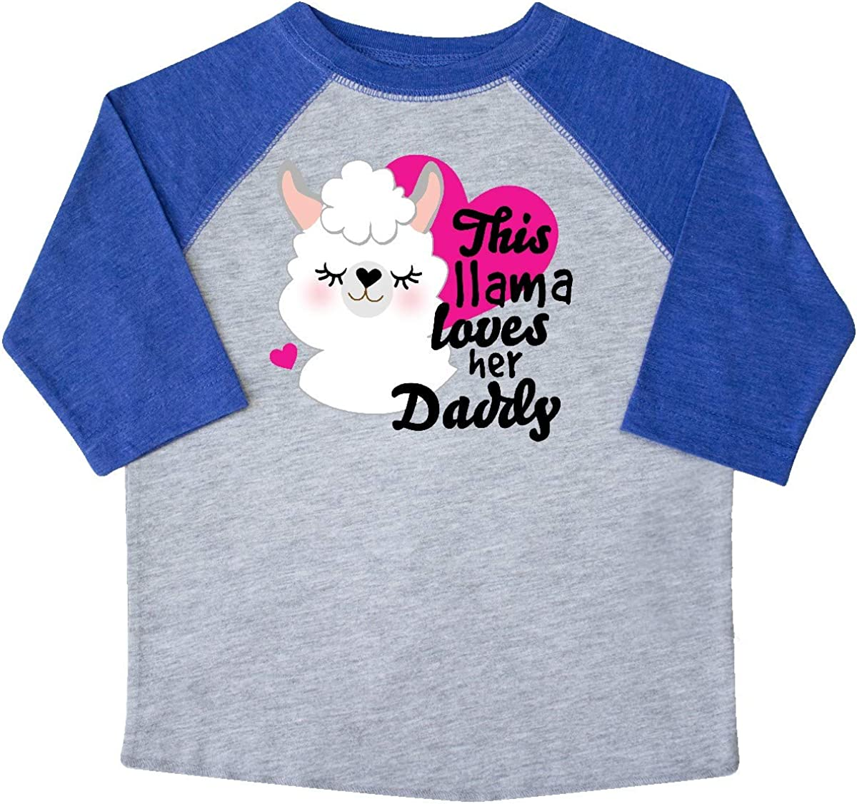 inktastic Valentines Day This Llama Loves Her Daddy Toddler T-Shirt