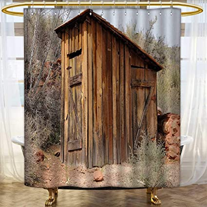 Anhounine Outhouse Shower Curtain Collection By Old Wooden Shed In The Outback Country Side With Olive