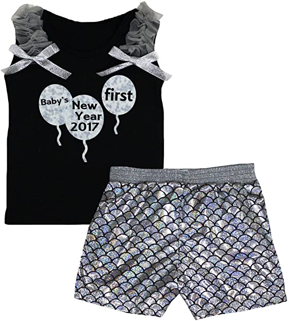 Petitebella New Year Balloon Black Shirt Silver Fish Scale Mermaid Short 1-8y