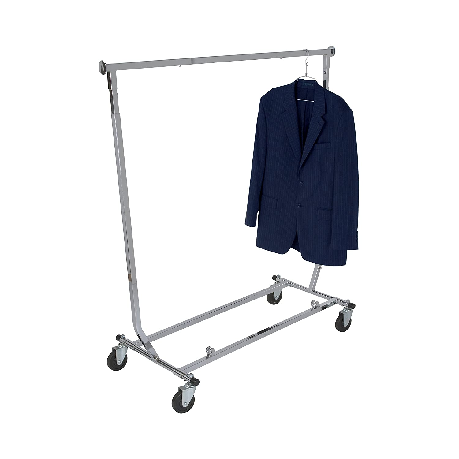 Chrome Square Tubing Rolling Rack Commercial Grade Clothing Display Econoco Collapsible Rolling Clothes Rack Collapsible Clothing Rack
