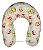 Amilian® XXL Bezug für Stillkissen Baby Lagerungskissen Lang Seitenschläferkissen 170 cm Eule ecru Eule E01