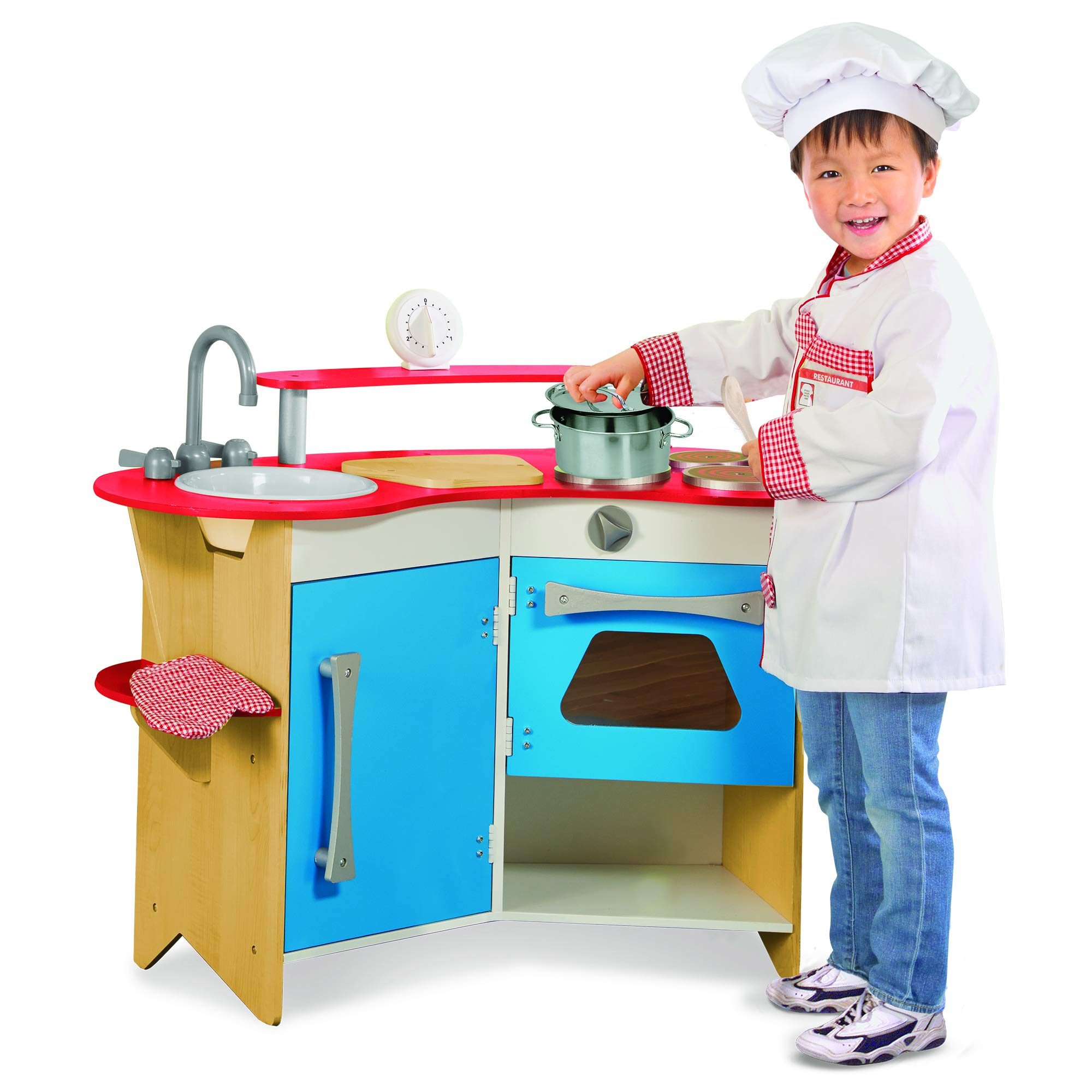 Melissa & Doug Cook's Corner Wooden Pretend Play Toy Kitchen by Melissa & Doug (Image #2)
