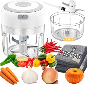 2 Cups Electric Mini Garlic Chopper, Handheld Wireless Mincer, Baby Food Grinder, Portable Cordless Food Processor, Powerful Food Blender Machine For Garlic Vegetable Pepper Nuts(250ml&100ml)