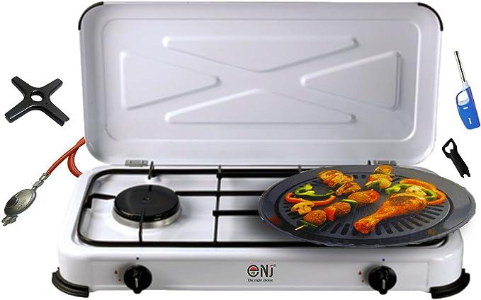 Camping hervidor 2 focos Hornillo de gas parrilla de gas 3,4 Kw con tapa cocina de gas quemador + Plancha + Phönix Cocina de gas Cruz + Gas Manguera ...