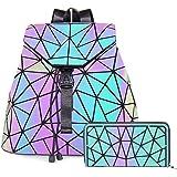 HotOne Geometric Backpack Holographic Reflective Backpacks Fashion Backpack (Luminous No.4+ Wallet 2 Set)