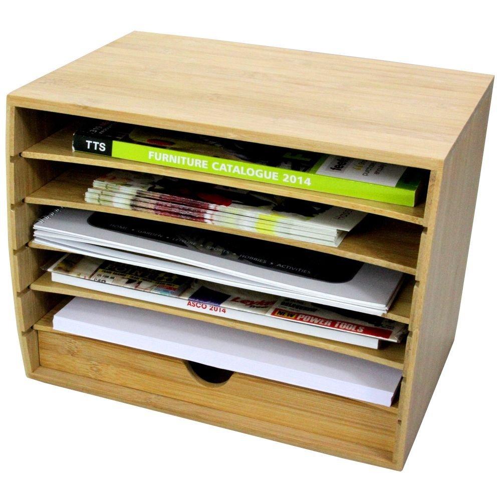 Bambù Cube-Classificatore Portadocumenti con Cassetto Organizzatore da Scrivania per Documenti in Formato A4 Bamboo for Home & Office
