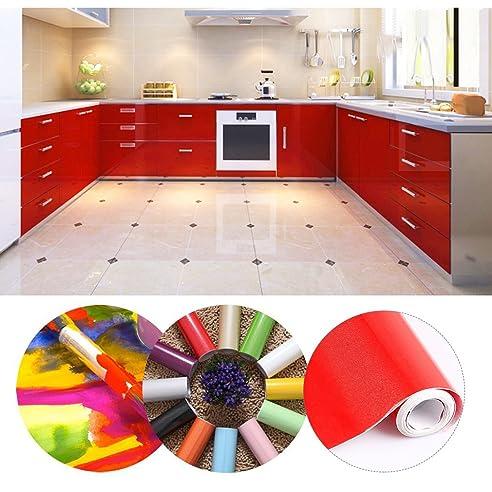 KINLO® selbstklebende folie küche Rot 61x500cm aus hochwertigem ...