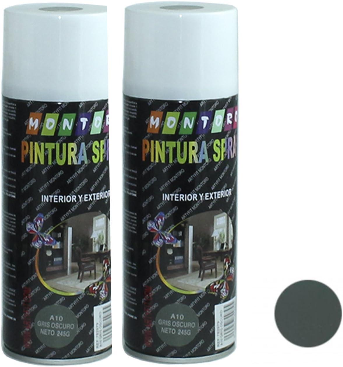 Montoro - Pack de 2 botes de pintura en spray Gris Oscuro A10 400 ml